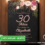 Invitación para 30 años Flores – GRATIS