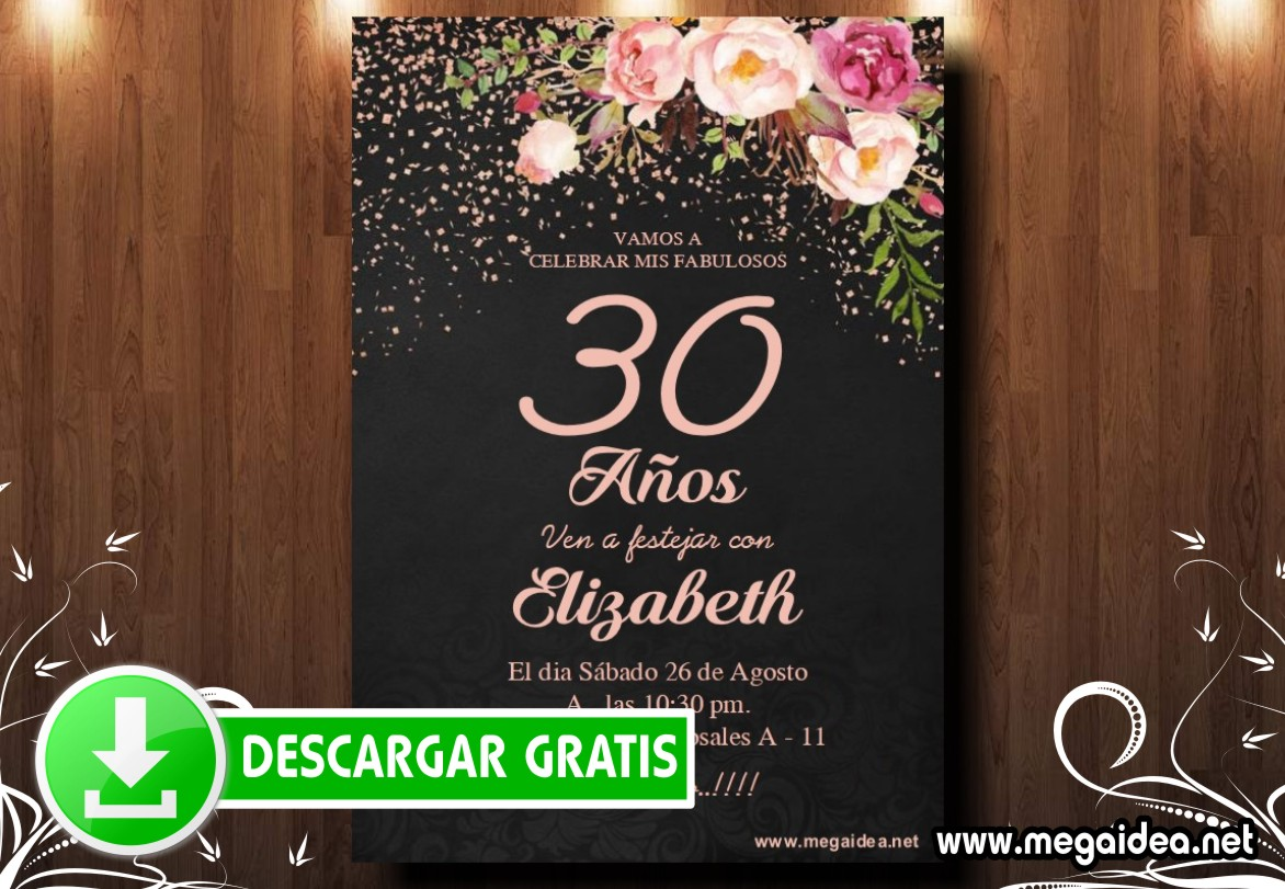 30 Cumple Flores Invitacion