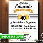 Invitación 40 Años Varón para Editar GRATIS