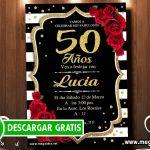 Invitación 50 Años Mujer para Editar GRATIS