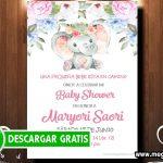 Invitacion Baby Shower Niña Elefante para Editar