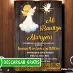 Invitación de Bautizo Niña para Editar GRATIS