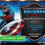 Capitan America Invitacion Cumpleaños