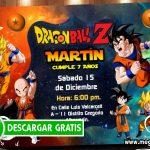 Dragon Ball Z Invitaciones Cumpleaños