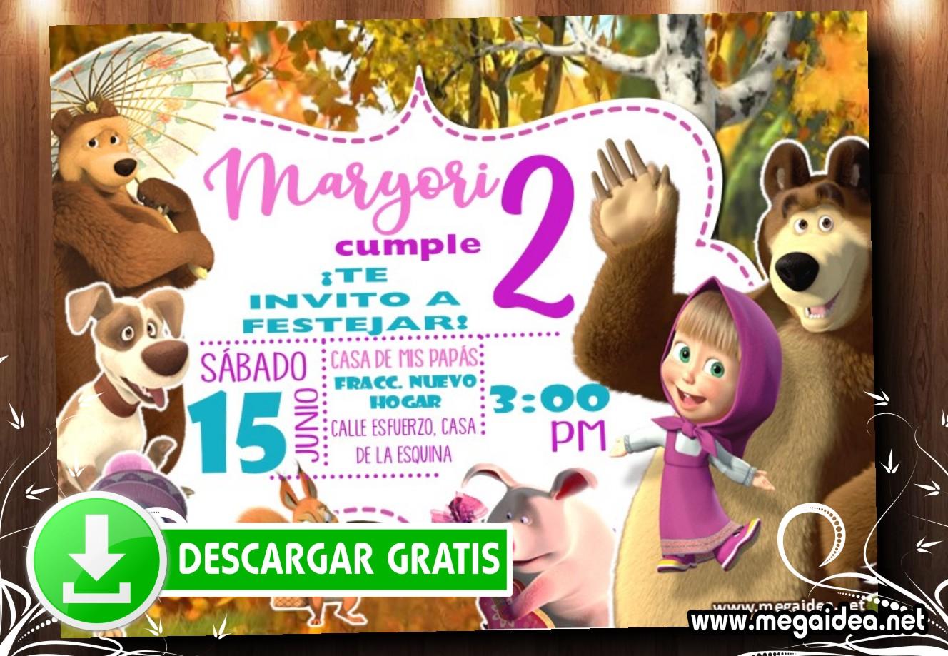 Masha y el Oso 3 Invitacion