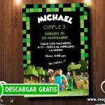 Invitacion de Minecraft para Imprimir GRATIS