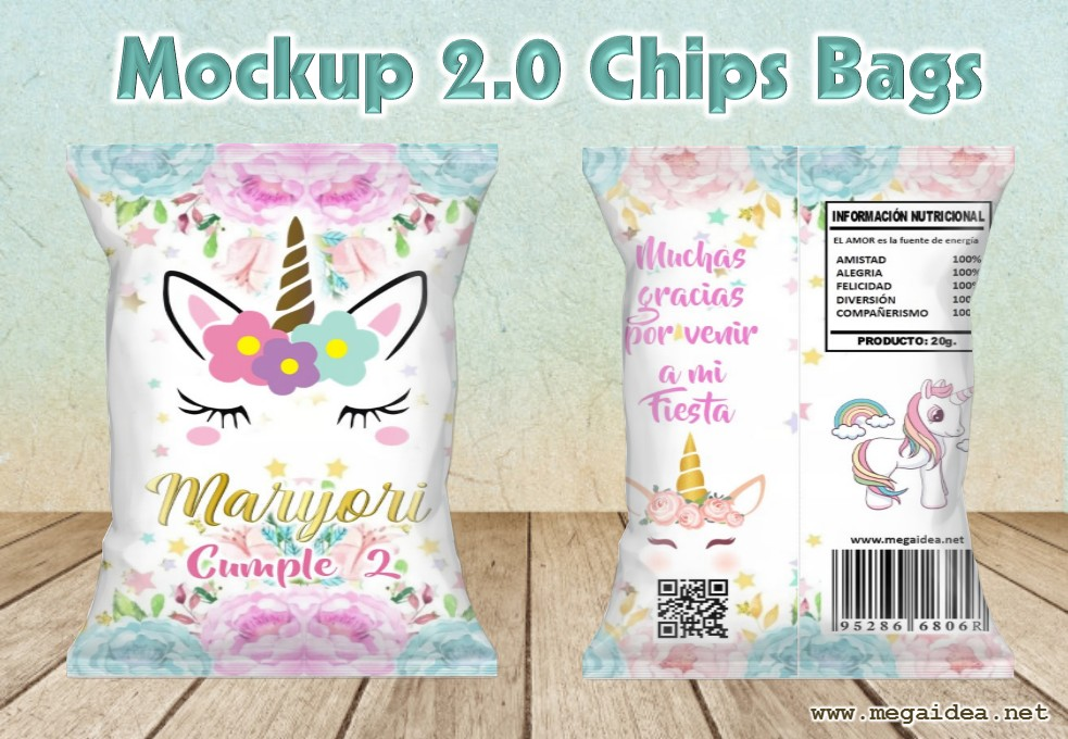 Mockup 02 Chips Bags unicornio