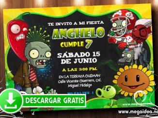 Plantas vs Zombies 1 Invitacion MUESTRA