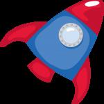 astronauta clipart cohete rojo1