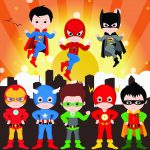 clipart poster super heroes animado