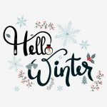 hello winter text decorative with