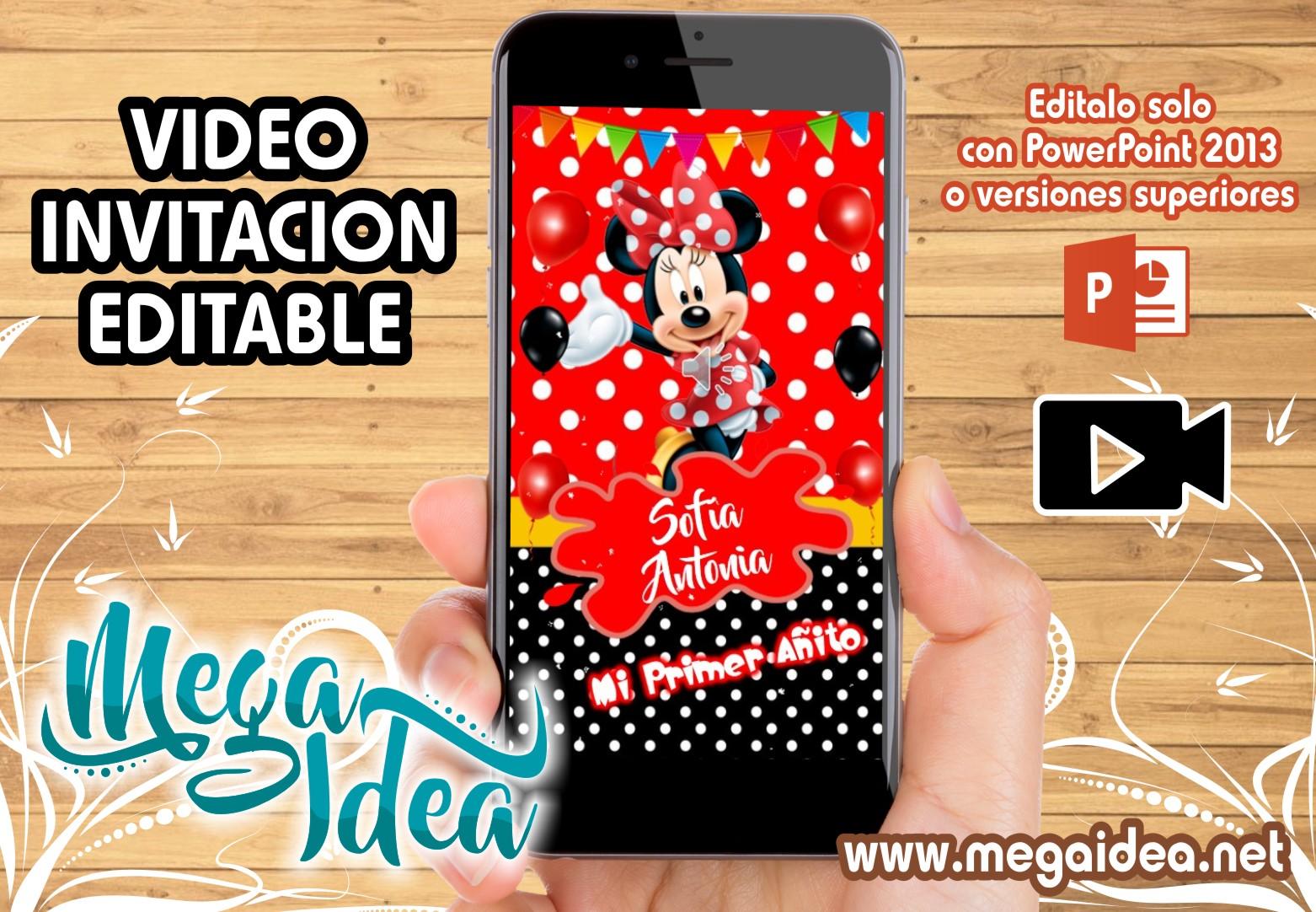 Video Invitacion Minnie Mouse Roja