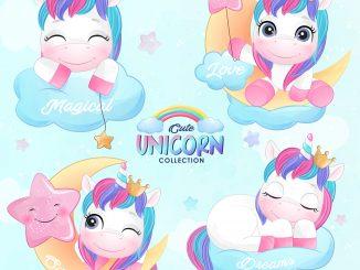 coleccion unicornio vector muestra