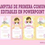 Estampitas Primera Comunión de Niña Editables en Powerpoint Gratis