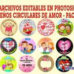 Diseños Circulares de Amor Editables en Photoshop Gratis Pack 2
