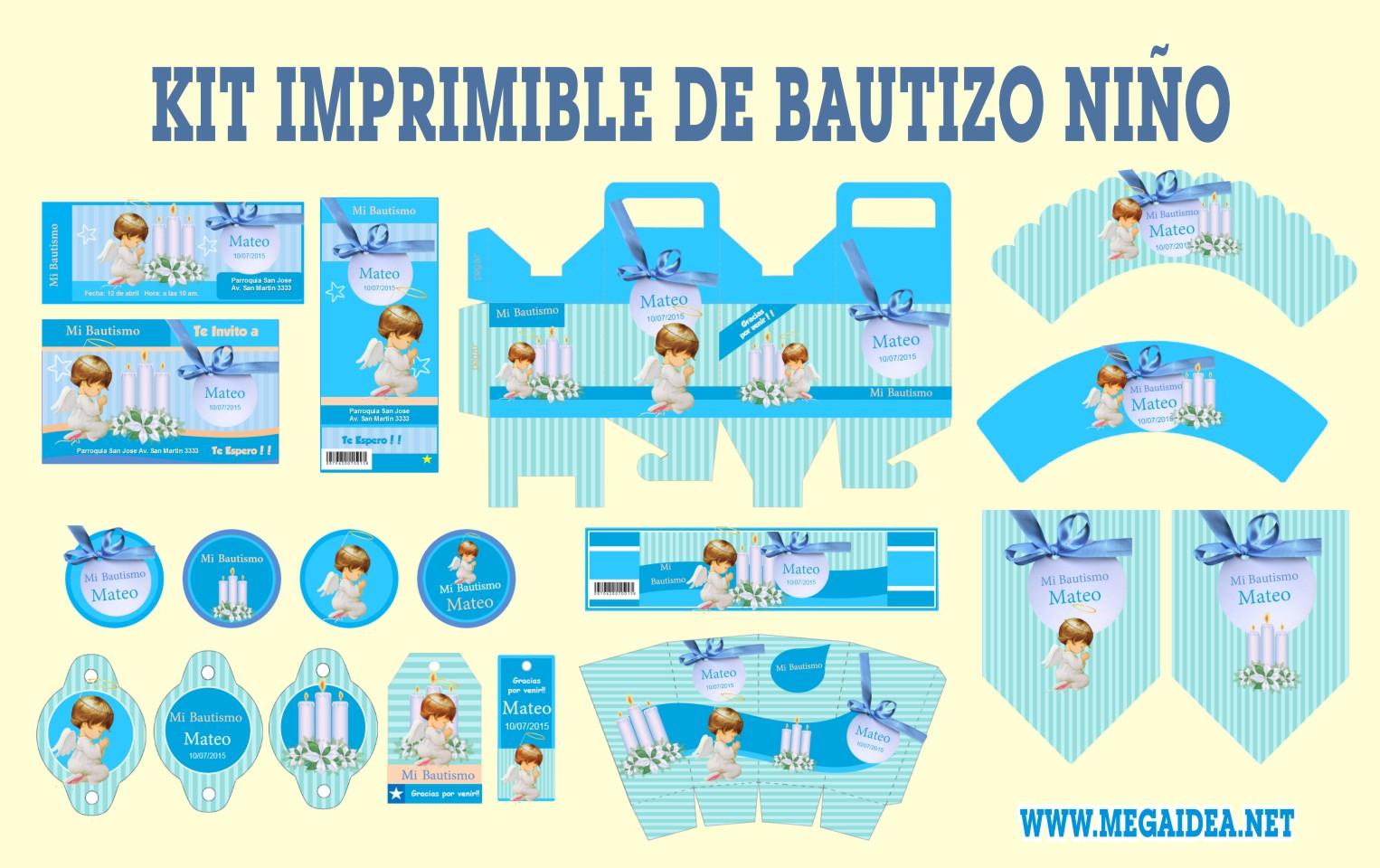 kit imprimible bautizo