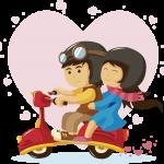 novios amor en moto