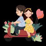 pareja moto