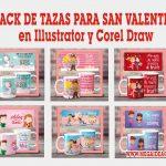 Pack de Tazas para San Valentin en Illustrator