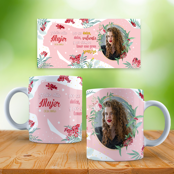 Mockup mujer floral con marco sin firma