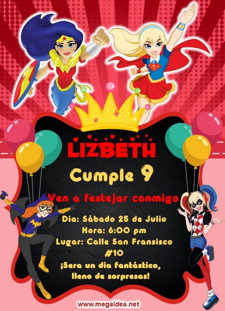 invitacion DC SuperHero Gir