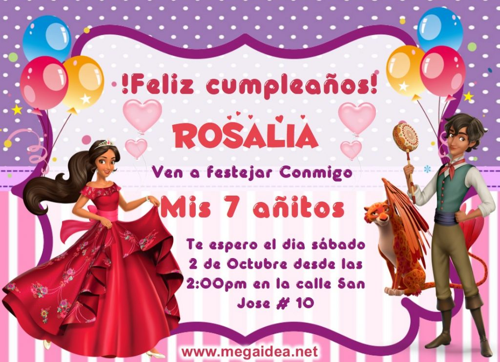 invitacion Elena de Avalor