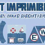Kit Imprimible de Barquito para Baby Shower Niño