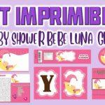 Kit Imprimible de Bebe Luna para Baby Shower Niña