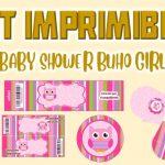 Kit Imprimible de Buho Modelo 2 para Baby Shower Niña