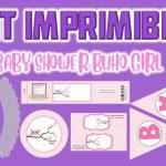Kit Imprimible de Buho para Baby Shower Niña