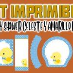 Kit Imprimible de Celeste con Amarillo para Baby Shower Niño
