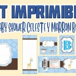 Kit Imprimible de Celeste y Marron para Baby Shower Niño