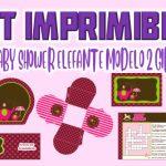 Kit Imprimible de Elefante Modelo 2 para Baby Shower Niña
