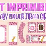 Kit Imprimible de Jirafa para Baby Shower Niña