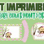 Kit Imprimible de Monito para Baby Shower Niña