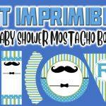 Kit Imprimible de Mostacho para Baby Shower Niño