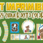 Kit Imprimible de Osito Colores para Baby Shower