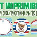 Kit Imprimible de Osito Marinero para Baby Shower Niño