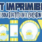 Kit Imprimible de Patito en el Cáscaron para Baby Shower Niño