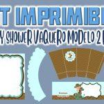 Kit Imprimible de Vaquero Modelo 2 para Baby Shower Niño