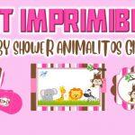 Kit Imprimible de Animalitos para Baby Shower Niña