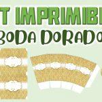 Kit Imprimible de Fondo Dorado para Boda