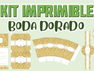 Kit Imprimible Boda dorado muestra