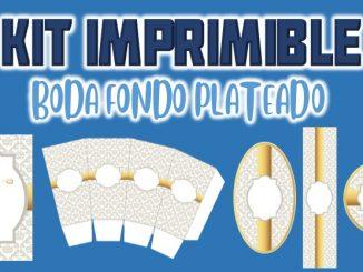 Kit Imprimible Boda fondo plateado MUESTRA