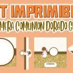 Kit Imprimible de Dorado para Primera Comunión Niña