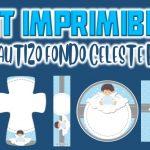 Kit Imprimible de Fondo Celeste para Bautizo Niño