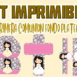 Kit Imprimible de Fondo plateado para Primera Comunión