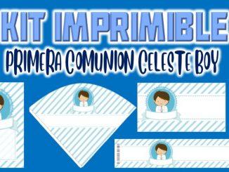 Kit Imprimible comunion celeste nino MUESTRA