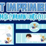 Kit Imprimible de Fondo Celeste para Primera Comunión Niño