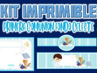 Kit Imprimible comunion fondo celeste nino MUESTRA